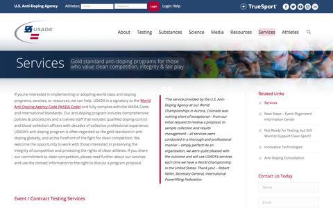 Screenshot of Services Page usada.org - U.S. Event Drug Testing Services   U.S. Anti-Doping Agency (USADA) - captured July 21, 2017