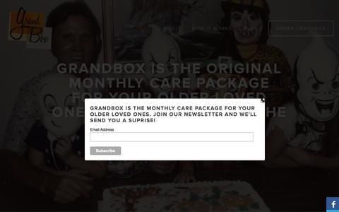 Screenshot of Home Page mygrandbox.com - GrandBox - a gift for your grandma or grandpa - captured Oct. 3, 2014