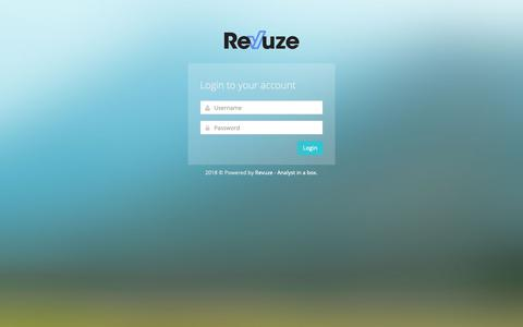 Screenshot of Login Page revuze.it - Analyst in a box v2.0.42 - captured Nov. 4, 2018