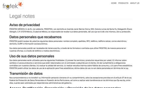 Screenshot of Terms Page frogtek.org - Legal notes :: Frogtek - captured Sept. 19, 2019