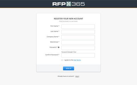 Screenshot of Signup Page rfp365.com - RFP365 Sign up - captured Oct. 26, 2014
