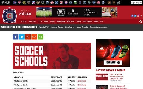 Screenshot of chicago-fire.com - Soccer Schools | Chicago Fire - captured Sept. 1, 2016