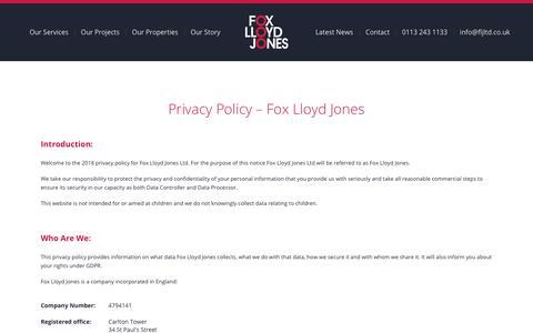 Screenshot of Privacy Page fljltd.co.uk - Privacy Policy - Fox Lloyd Jones - captured Oct. 11, 2018