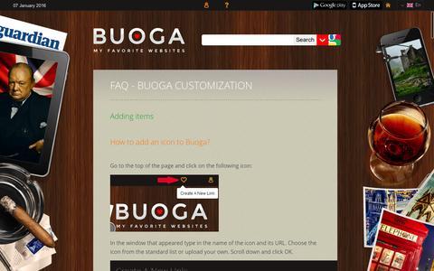 Screenshot of FAQ Page buoga.com - Buoga - My Favorite Sites - captured Jan. 7, 2016