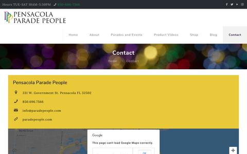 Screenshot of Contact Page paradepeople.com - Contact - Pensacola Parade People - Everything you need for Parades - captured Sept. 27, 2018