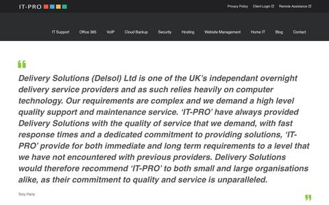 Screenshot of Testimonials Page itprosupport.co.uk - Client Testimonials | IT-Pro Support - captured Nov. 6, 2018