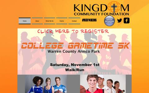 Screenshot of Home Page kcf4kids.com - Kingdom Community Foundation - captured Oct. 6, 2014