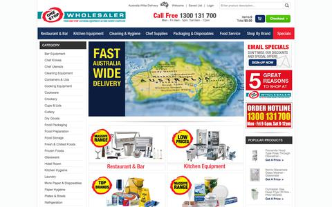 Screenshot of Home Page onestopwholesaler.com - One Stop Wholesaler - Your one stop catering equipment supplier offering a wide range of products to the Australian catering industry - captured Sept. 20, 2018