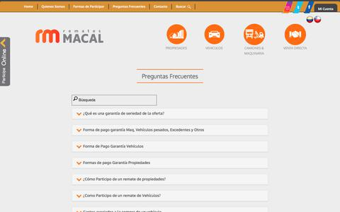 Screenshot of FAQ Page macal.cl - Remates Macal - captured Oct. 3, 2017