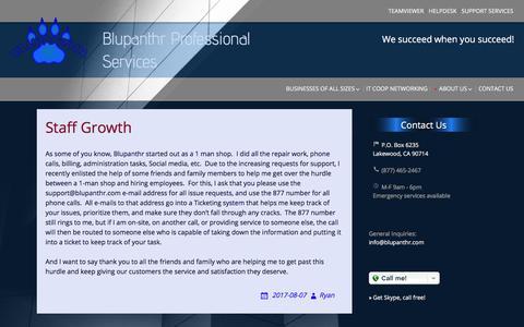 Screenshot of Press Page blupanthr.com - News | Blupanthr Professional Services - captured Oct. 10, 2017