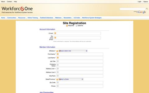 Screenshot of Signup Page workforce3one.org - Workforce3one.org : Register - captured March 12, 2016