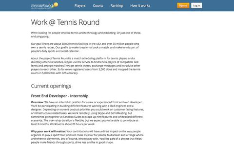 Screenshot of Jobs Page tennisround.com - Careers | Jobs at Tennis Round | Work With Us - captured Oct. 26, 2014
