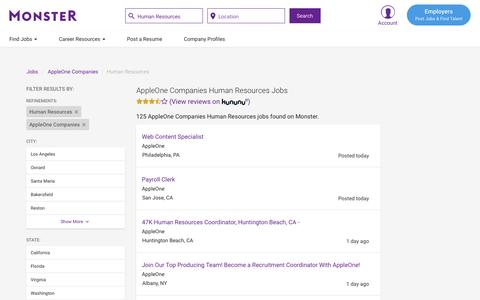 Screenshot of Jobs Page monster.com - AppleOne Companies Human Resources Jobs | Monster.com - captured May 17, 2017