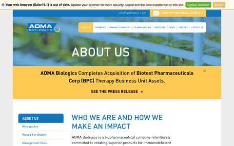 Screenshot of About Page admabiologics.com - About Us :: ADMA Biologics, Inc. (ADMA) - captured Nov. 1, 2017