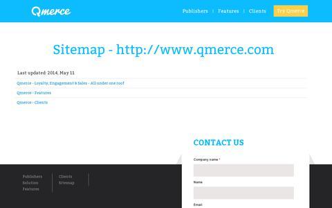 Screenshot of Site Map Page qmerce.com - Qmerce - Sitemap - captured July 18, 2014