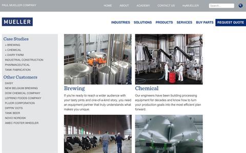 Screenshot of Case Studies Page paulmueller.com - Case Studies - All Industries | Paul Mueller Company - captured Sept. 27, 2018