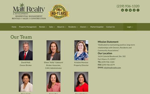 Screenshot of Team Page maltrealty.com - Malt Realty & Development | Fort Myers, Cape Coral| About Us - captured Oct. 2, 2018