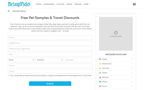 Screenshot of Signup Page bringfido.com - Free Pet Samples & Travel Discounts - captured June 21, 2017