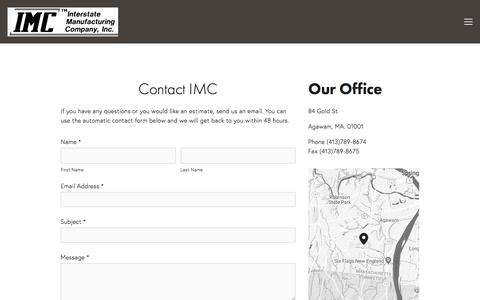 Screenshot of Contact Page interstatecorps.com - Contact Us — Interstate Manufacturing Company, Inc - captured July 9, 2018