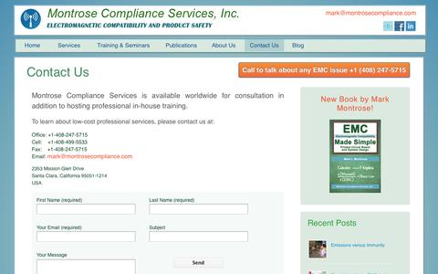 Screenshot of Contact Page montrosecompliance.com - Montrose Compliance Services - captured Nov. 3, 2014