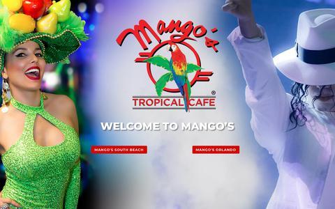 Screenshot of Home Page mangos.com - Mango's Tropical Cafe   Orlando, FL   Miami Beach, FL   Night Club & Venue - captured Oct. 2, 2018