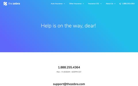 Screenshot of Contact Page Support Page thezebra.com - Help - captured April 4, 2018