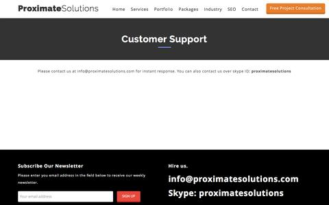Screenshot of Support Page proximatesolutions.com - Customer Support - captured May 24, 2017