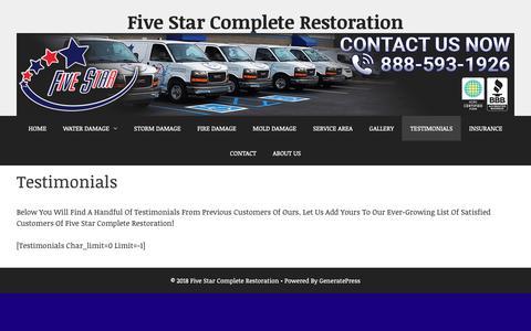 Screenshot of Testimonials Page fivestarindy.com - Testimonials · Five Star Complete Restoration - captured Oct. 10, 2018