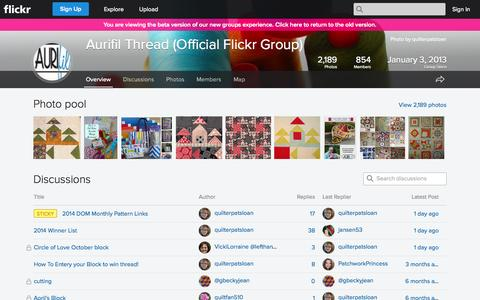 Screenshot of Flickr Page flickr.com - Flickr: The Aurifil Thread (Official Flickr Group) Pool - captured Nov. 2, 2014