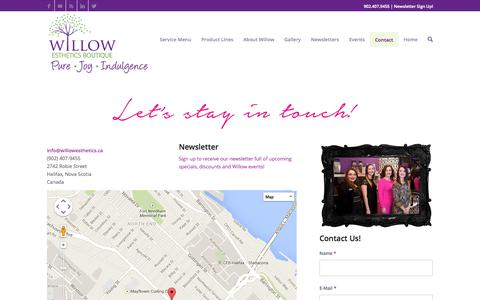 Screenshot of Contact Page willowesthetics.ca - Willow Esthetics Boutique | Halifax | Facials | Manicures | Pedicures - captured Oct. 26, 2014
