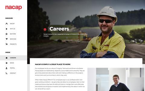 Screenshot of Jobs Page nacap.com.au - Careers - Nacap Australia | Pipeline Construction and Facilities Construction | Infrastructure Projects Australia : Nacap Australia | Pipeline Construction and Facilities Construction | Infrastructure Projects Australia - captured Nov. 28, 2016