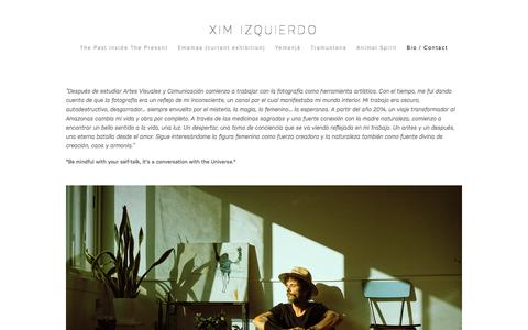 Screenshot of Contact Page ximizquierdo.com - Bio / Contact — Xim Izquierdo - captured Oct. 6, 2016