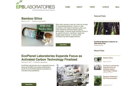 Screenshot of Press Page epblaboratories.com - EcoPlanet Laboratories | Bamboo Industry News - captured May 12, 2017