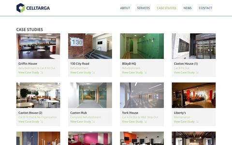Screenshot of Case Studies Page celltarga.com - The #1 Office Fit Out and Refurbishment Specialists in London and the South of England | Celltarga | Case Studies - captured July 19, 2017