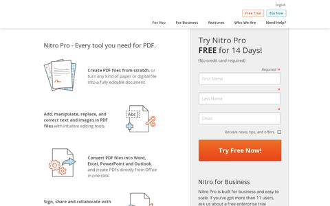 Screenshot of Trial Page nitropdf.com - Download Free Trial of Nitro Pro 9 | Nitro PDF - captured July 18, 2014