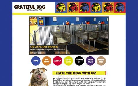 Screenshot of Home Page gratefuldogbcs.com - Self-Serve Dog Wash, College Station, TX - captured Oct. 3, 2014
