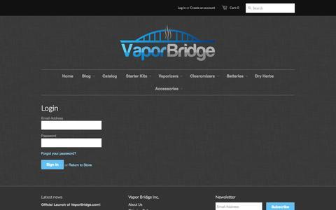 Screenshot of Login Page vaporbridge.com - Account – Vapor Bridge - captured Oct. 7, 2014