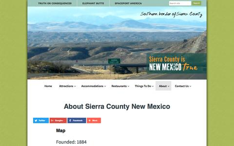 Screenshot of About Page sierracountynewmexico.info - About Sierra County: Oasis of the Southwest, Home of Spaceport America - captured Dec. 2, 2016