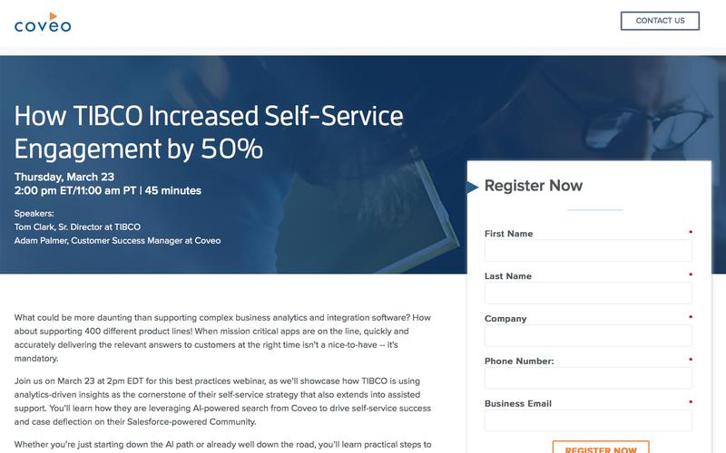 How TIBCO Increased Self-Service Engagement by 50%