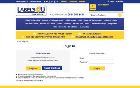 Screenshot of Login Page secure-basket.com - A4 Labels for laser, inket & copier, best price - captured Oct. 26, 2017