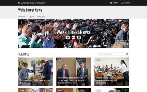 Screenshot of Press Page wfu.edu - Wake Forest News   Wake Forest University - captured Nov. 17, 2019