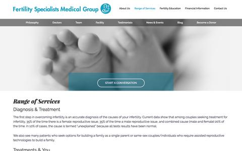 Screenshot of Services Page ivfspecialists.com - Fertility Treatment | Fertility Specialists in San Diego - captured Feb. 10, 2016