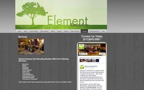 Screenshot of Services Page elementrecordingstudios.com - Kansas City Recording Studio   Element Recording - captured March 6, 2016