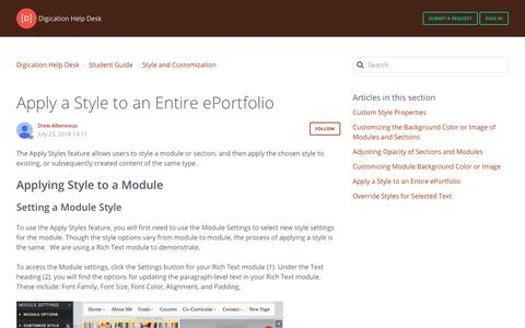 Screenshot of Support Page digication.com - Apply a Style to an Entire ePortfolio – Digication Help Desk - captured Jan. 8, 2020