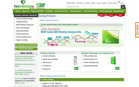 Screenshot of Products Page biosyn.com - Catalog Products- Bio-Synthesis - captured Oct. 5, 2018
