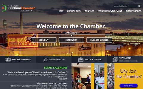 Screenshot of Home Page durhamchamber.org - Welcome to the Chamber - Greater Durham Chamber of Commerce - captured Oct. 3, 2014