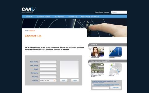 Screenshot of Contact Page caainternational.com - CAAi - Contact Us - captured Sept. 26, 2014