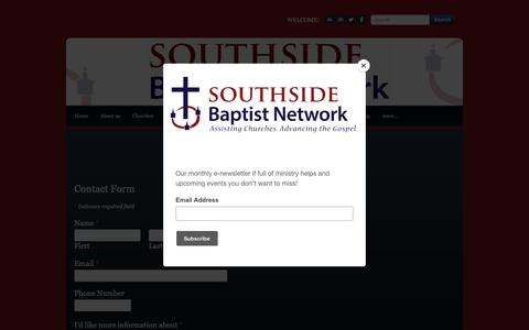 Screenshot of Contact Page southsidebaptistnetwork.org - Contact Us - captured Oct. 19, 2018