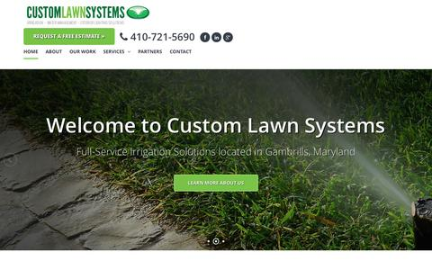 Screenshot of Home Page customlawnsystems.com - Custom Lawn Systems - Call Us For Irrigation, Water Management, External Lighting Solutions, Lawn Management, and Lawn Care in Maryland - captured Oct. 3, 2014