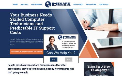 Screenshot of Terms Page menark.com - Managed IT Solutions: Helping Businesses Leverage Technology - captured Oct. 17, 2018
